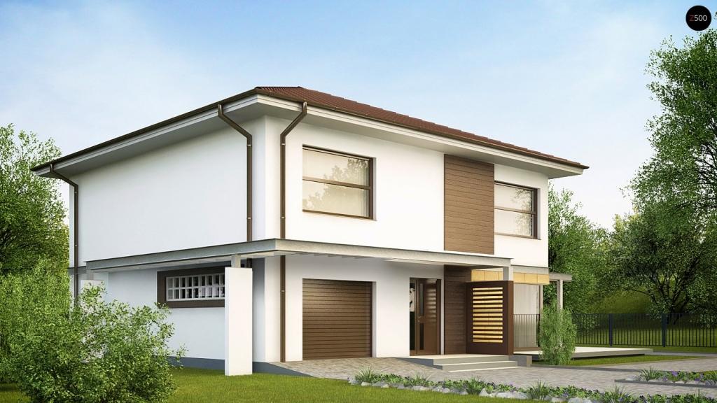 проекты двухэтажных домов со встроенным гаражом